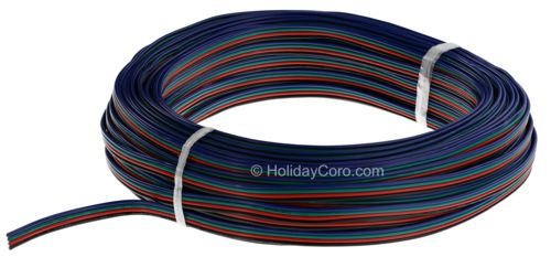 100 Feet of 4 Conductor 18 AWG Extension Cable for RGB Dumb / Pixel / Smart Lights / FLAT