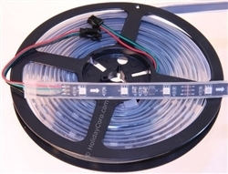 CLEARANCE: Smart / Pixel RGB LED Strip 30 LEDs/m 10 Pixels/m Waterproof Tube (16ft-6in/5 meter Roll) - 12v / 2811 / BLACK PCB