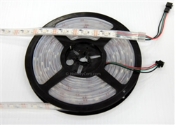 DISCONTINUED: Smart / Pixel LED RGB Strip 30 LEDs/m 30 Pixels/m Waterproof Tube (16ft-6in/5 meter Roll) - 12v / INK1003 (WS2811 clone) - White PCB Background