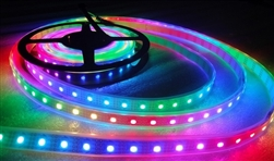 DISCONTINUED: Smart / Pixel LED RGB Strip 60 LEDs/m 60 Pixels/m Waterproof Tube (16ft-6in/5 meter Roll) - 12v / INK1003 (WS2811 clone) - White PCB Background