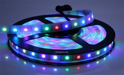 Smart / Pixel LED RGB Strip 60 LEDs/m 60 Pixels/m Waterproof Tube (16ft-6in/5 meter Roll) - 12v / INK1003 (WS2812) / Waterproof EasyPlug3 Input and Output Cables