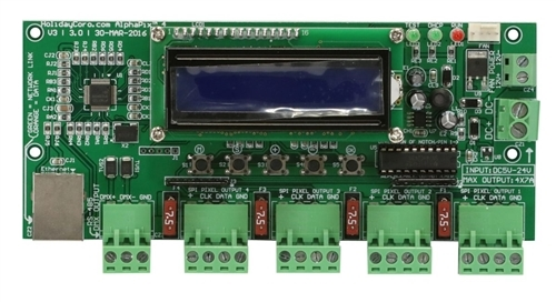 AlphaPix Classic 4 V3 - E1.31 & ArtNet to SPI Pixel Controller w/LCD Display - 4 SPI + 1 RS485 Outputs