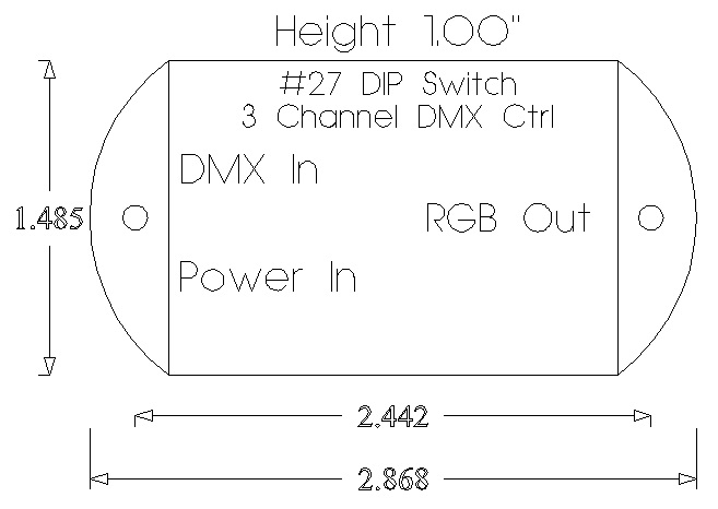 3 Channel Dumb RGB DMX Controller / Bare Lead Input & Output / DIP Switch  Addressing