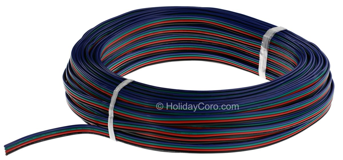 100 Feet of 4 Conductor 18 AWG Extension Cable for RGB Dumb / Pixel Flat Wiring on
