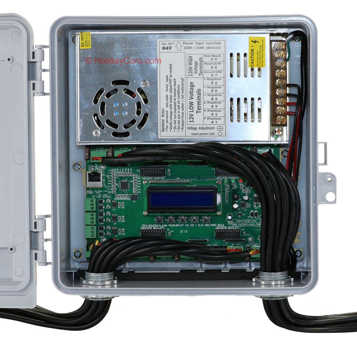16 Output Alphapix E131 Controller 350 Watts Of Power Enclosure Wire Color Code E1 Standard